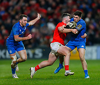 28th December 2019; Thomond Park, Limerick, Munster, Ireland; Guinness Pro 14 Rugby, Munster versus Leinster; Sammy Arnold of Munster tackles Jimmy O'Brien of Leinster - Editorial Use