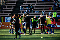 Seattle, WA - April 15th, 2017: Seattle Reign FC head coach Laura Harvey during a regular season National Women's Soccer League (NWSL) match between the Seattle Reign FC and Sky Blue FC at Memorial Stadium.