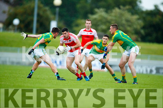 Oran Clifford and Brendan O'SullivanSouth Kerry in action against Mikey Geaney Dingle in the Quarter Final of the Kerry Senior County Championship at Austin Stack Park on Sunday.