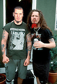 PANTERA - vocalist Phil Anselmo and guitarist Dimebag Darrell Abbott Backstage at the Monsters of Rock, Donington Park UK - 02 Jun 1994.  Photo credit: George Chin/IconicPix