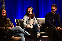 Washington, DC - March 23, 2018: Nikhita Nookala, Christy Ma, Kevin Trejos and student journalists from Marjory Stoneman Douglas High School in Parkland, Florida participate in a panel discussion, moderated by CBS correspondent Margaret Brennan, at the Newseum in Washington, D.C. March 23, 2018. The students recounted their experiences in covering the shooting tragedy at their school for The Eagle Eye newspaper.  (Photo by Don Baxter/Media Images International)