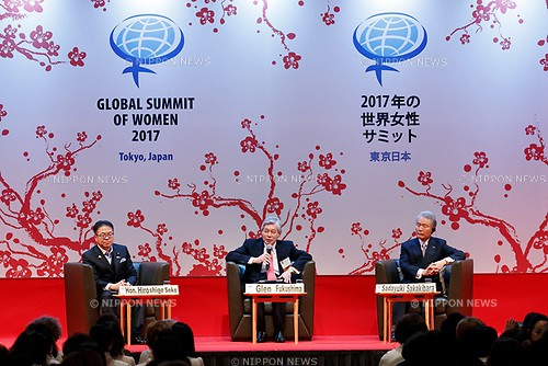 (L to R) Japanese Minister of Economy, Trade and Industry Hiroshige Seko, Center of American Progress Senior Fellow Glen Fukushima and Sadayuki Sakakibara CEO of Keidanren, speak during the 2017 Global Summit of Women on May 11, 2017, Tokyo, Japan. The annual Global Summit of Women is being held in Tokyo for the first time with the objective of empowering Japanese women through the speeches of female leaders' from both the private and public sectors. The event is organized by the Washington-based NPO Globe Women and runs until May 13. (Photo by Rodrigo Reyes Marin/AFLO)