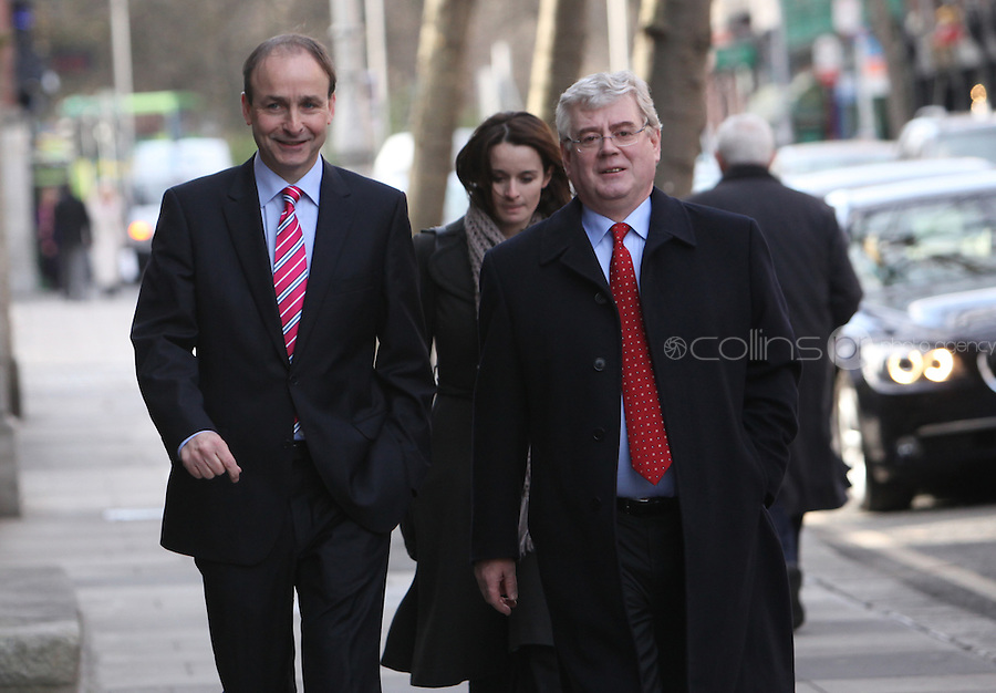 09/03/2011.Fianna Fail Leader Michael Martin Td & Labour PArty Leader Eamon Gilmore TD, at a service to mark the assembly of the 31st Dáil in St Ann's Church  Dublin..Photo: Gareth Chaney Collins