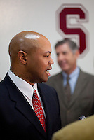 STANFORD, CA - January 13, 2011: David Shaw is announced as the new head football coach for Stanford University by Athletic Director Bob Bowlsby.
