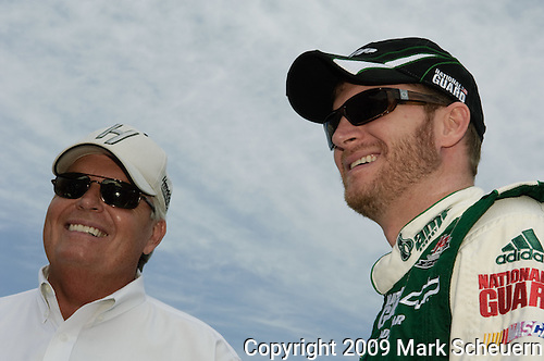 June 14 2009: Rick Hendrick (left) and Dale Earnhardt Jr. (right) on the grid at the LifeLock 400 at Michigan International Speedway in Brooklyn, MIchigan.