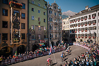 racing downtown Innsbruck<br /> <br /> MEN ELITE ROAD RACE<br /> Kufstein to Innsbruck: 258.5 km<br /> <br /> UCI 2018 Road World Championships<br /> Innsbruck - Tirol / Austria