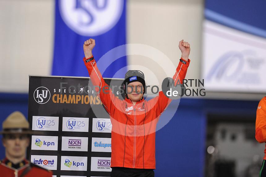SPEEDSKATING: CALGARY: Olympic Oval, 26-02-2017, ISU World Sprint Championships, Overall Podium Men, Håvard Holmefjord Lorentzen (NOR), ©photo Martin de Jong