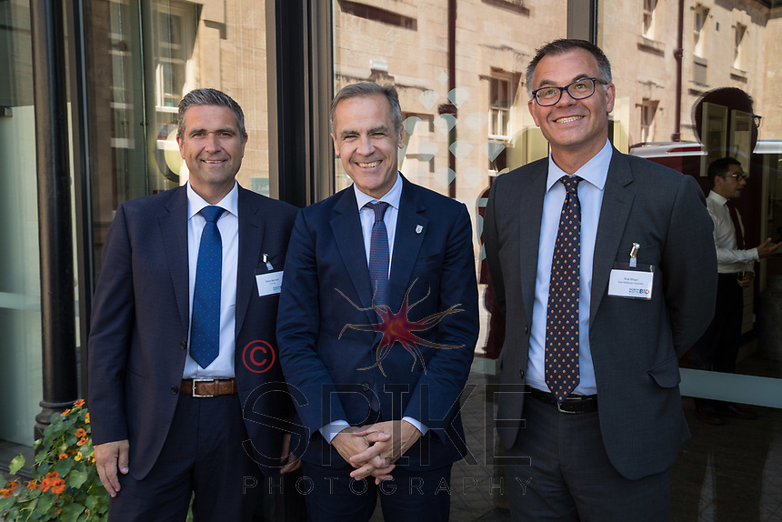 Pictured from left are Steve Bennett of TLS, Mark Carney, Governor of the Bank of England and Rob Mayo of East Midlands Chamber