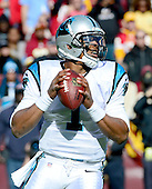 Carolina Panthers quarterback Cam Newton (1) looks to pass in the first quarter against the Washington Redskins at FedEx Field in Landover, Maryland on Sunday, November 4, 2012..Credit: Ron Sachs / CNP