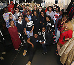 "Justin Dine Bryant with High School performers during a Q & A before The Rockefeller Foundation and The Gilder Lehrman Institute of American History sponsored High School student #eduHam matinee performance of ""Hamilton"" at the Richard Rodgers Theatre on May 9, 2018 in New York City."