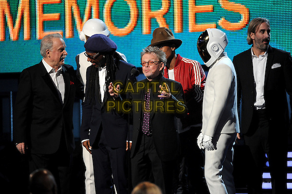 LOS ANGELES, CA - JANUARY 26 : Nile Rodgers, Paul Williams, Pharrell Williams and Thomas Bangalter and Guy-Manuel de Homem-Christo of 'Daft Punk' accept the Album of the Year award on behalf of 'Daft Punk' onstage at The 56th Annual GRAMMY Awards at Staples Center on January 26, 2014 in Los Angeles, California. <br /> CAP/MPI/PG<br /> &copy;PGFMicelotta/MediaPunch/Capital Pictures