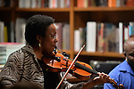 CORAL GABLES, FL - FEBRUARY 06: Diane Monroe of The Avery Sharpe Trio band perform during a discussion and book signing of Jasmine Guy book 'Afeni Shakur: Evolution of a revolutionary' at Books and Books on Friday February 6, 2015 in Coral Gables, Florida. (Photo by Johnny Louis/jlnphotography.com)