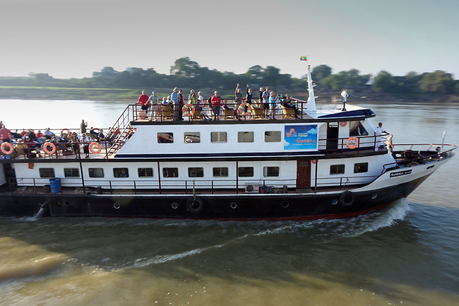 cruise boat on Irrawaddy river, burma