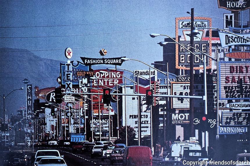 Las Vegas:  Las Vegas Strip. Signage overwhelming street.  October 1987.