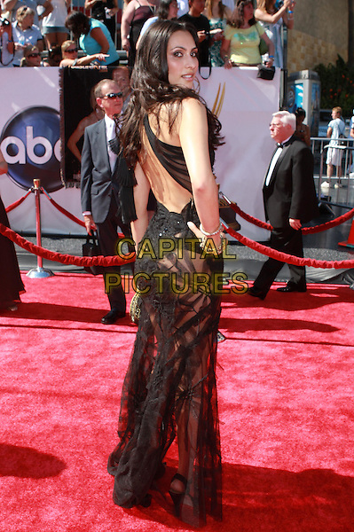 REYA MEDDINE.35th Annual Daytime Emmy Awards held at the Kodak Theatre, Hollywood, California, USA,.20 June 2008..full length black  see through cut out sheer dress long backless over shoulder behind hand on hip.CAP/ADM/CH.©Charles Harris/Admedia/Capital PIctures