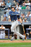Tampa Bay Rays infielder Evan Longoria #3 during a game against the New York Yankees at Yankee Stadium on September 21, 2011 in Bronx, NY.  Yankees defeated Rays 4-2.  Tomasso DeRosa/Four Seam Images
