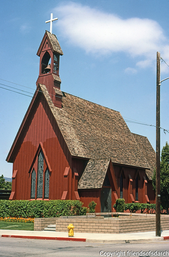 St. Stephen's Episcopal Church 1873: 1971 (burned and rebuilt). Carpenter's Gothic, Authentic. San Luis Obispo. Photo '85.