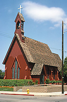 St. Stephen's Episcopal Church 1873: 1971 (burned and rebuilt). Carpenter's Gothic, Authentic. San Luis Obispo. Photo '85.
