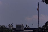 Washington, DC - September 11, 2001 -- Security on the roof of the White House following the terrorist bombings at the World Trade Center in New York and the Pentagon in Washington on Tuesday, September 11, 2001..Credit: Ron Sachs / CNP