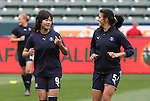 29 March 2009: Los Angeles' Han Duan (CHN) (9) and Greer Barnes (5). Los Angeles Sol defeated the Washington Freedom 2-0 at the Home Depot Center in Carson, California in a regular season Women's Professional Soccer game. The game was the WPS Inaugural game.