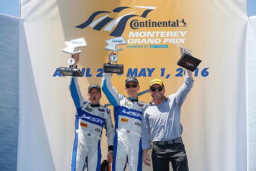 29 April - May 1, 2016, Monterey, California<br /> Winners, 60, Honda HPD, Ligier JS P2, P, John Pew, Oswaldo Negri, Jr., Michael Shank<br /> ©2016, Michael L. Levitt<br /> LAT Photo USA