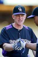 Colorado Rockies Manager Jim Tracy #4 before a game against the Los Angeles Dodgers at Dodger Stadium on September 29, 2012 in Los Angeles, California. Los Angeles defeated Colorado 3-0. (Larry Goren/Four Seam Images)