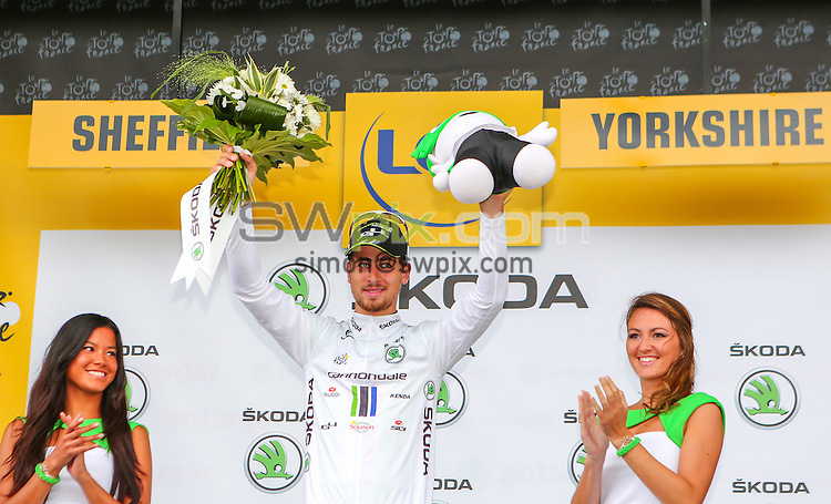 Picture by Alex Whitehead/SWpix.com - 06/07/2014 - Cycling - Tour de France 2014: Stage 2, York to Sheffield - Yorkshire, England - Peter Sagan white jersey.