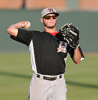 Left fielder Trever Adams (30) of the Hickory Crawdads prior to a game against the Greenville Drive on Friday, August 31, 2012, at Fluor Field at the West End in Greenville, South Carolina. Greenville won, 7-2. (Tom Priddy/Four Seam Images)