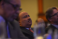 January 15, 2013  (Washington, DC)  Martin Luther King III listens to Rev. Al Sharpton speak at the National Action Network's King Day luncheon at the Hyatt Regency in Washington. (Photo by Don Baxter/Media Images International)