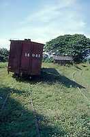 Old boxcar at Sitio del Nino train station, El Salvador, Central America