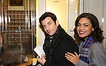 """Andy Karl and Barrett Doss with Staten Island Chuck visit the """"Groundhog Day'' opening day box office at The August Wilson Theatre on February 2, 2017 in New York City."""
