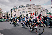 James Shaw (GBR/Lotto-Soudal) in front of the peloton<br /> <br /> Stage 8: London to London (77km)<br /> 15th Ovo Energy Tour of Britain 2018