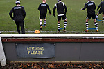 The home players warming up before Atherton Collieries played Boston United in the FA Trophy third qualifying round at the Skuna Stadium. The home club were formed in 1916 and having secured three promotions in five season played in the Northern Premier League premier division. This was the furthest they had progressed in the FA Trophy and defeated their rivals from the National League North by 1-0, Mike Brewster scoring a late winner watched by a crowd of 303 spectators.