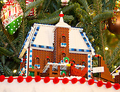 """The 2016 White House Christmas decorations are previewed for the press at the White House in Washington, DC on Tuesday, November 29, 2016. Pictured is detail of one of the 56 Lego gingerbread houses, one for each state and territory in the State Dining Room.  The first lady's office released the following statement to describe those decorations, """"This year's holiday theme, 'The Gift of the Holidays,' reflects on not only the joy of giving and receiving, but also the true gifts of life, such as service, friends and family, education, and good health, as we celebrate the holiday season.""""<br /> Credit: Ron Sachs / CNP"""
