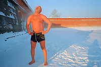 St Petersburg, Russia, January 2003..Petersburgers make the most of the city's famous parks and waterways at any time of the year - a winter swimmer, known as a walrus, by the Peter Paul Fortress in -25 C..
