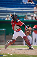 Batavia Muckdogs catcher Pablo Garcia (4) throws to first base to complete the strikeout during a game against the State College Spikes on July 8, 2018 at Dwyer Stadium in Batavia, New York.  Batavia defeated State College 8-3.  (Mike Janes/Four Seam Images)
