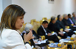 Carla Khijo, a program executive of the World Council of Churches, speaks during the visit of an ecumenical delegation to church leaders in Baghdad, Iraq, on January 21, 2017.