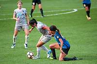 Kansas City, MO - Thursday August 10, 2017: Debinha De Oliveira, Sydney Leroux during a regular season National Women's Soccer League (NWSL) match between FC Kansas City and the North Carolina Courage at Children's Mercy Victory Field.