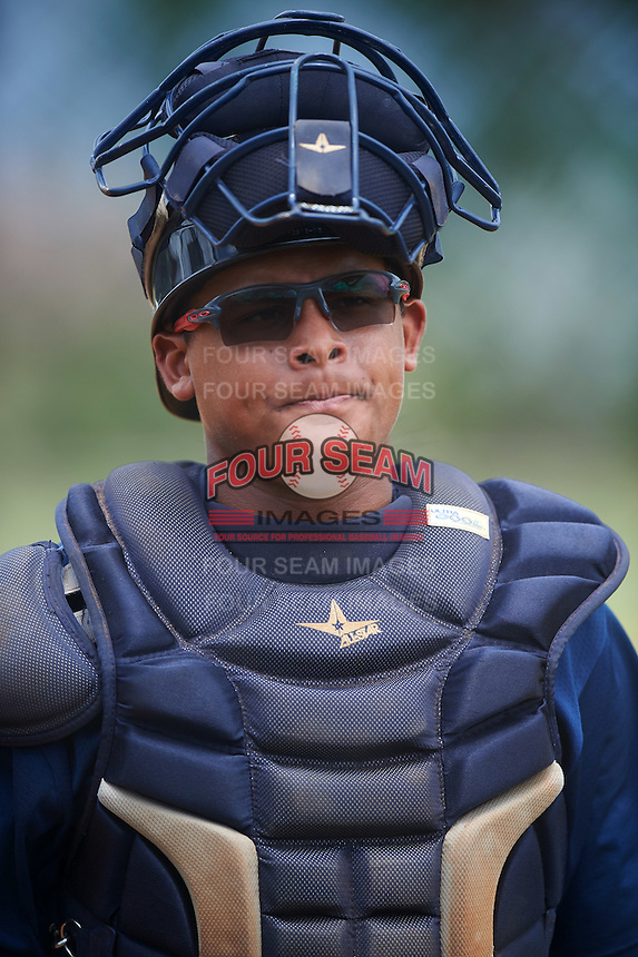 GCL Tigers East catcher Johandry Cortez (12) during a game against the GCL Tigers West on August 4, 2016 at Tigertown in Lakeland, Florida.  GCL Tigers West defeated GCL Tigers East 7-3.  (Mike Janes/Four Seam Images)