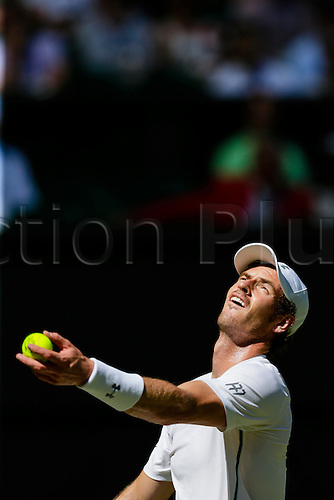 30.06.2015.  Wimbledon, England. The Wimbledon Tennis Championships.  Gentlemen's Singles first round match between third seed Andy Murray (GBR) & Mikhail Kukushkin (KAZ).  Andy Murray in service action