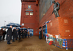 John Greig, Paul Murray, Graeme Murty with directors and fans lay tributes left in memorial at Ibrox Stadium to remember the 66 supporters who never made it back home on 2nd January 1971 during a service led by club chaplain rev Stuart McQuarrie