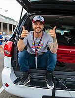 Jul 20, 2018; Morrison, CO, USA; USA snowboarding olympian Louie Vito in attendance of NHRA qualifying for the Mile High Nationals at Bandimere Speedway. Mandatory Credit: Mark J. Rebilas-USA TODAY Sports