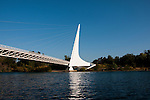Sundial Bridge across Sacramento River in Redding in Northern California.Photo copyright Lee Foster.  Photo # california-sundial-bridge-cashas104881