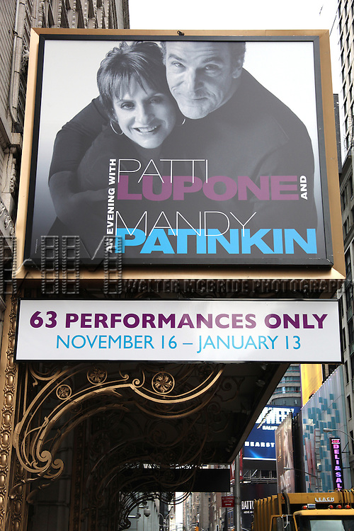 'An Evening with Patti LuPone and Mandy Patinkin' Theatre Marquee unveiling at the Barrymore Theatre in New York City.