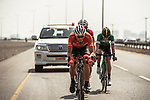 The breakaway group Markel Irizar (ESP) Trek-Segafredo, Fabricio Ferrari Barcelo (URG) Caja Rural-Seguros RGA and Danny Pate (USA) Rally Cycling in action during Stage 2 of the 2018 Tour of Oman running 167.5km from Sultan Qaboos University to Al Bustan. 14th February 2018.<br /> Picture: ASO/Muscat Municipality/Kare Dehlie Thorstad | Cyclefile<br /> <br /> <br /> All photos usage must carry mandatory copyright credit (&copy; Cyclefile | ASO/Muscat Municipality/Kare Dehlie Thorstad)