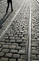Tram tracks in Korenmarkt, Ghent, Belgium