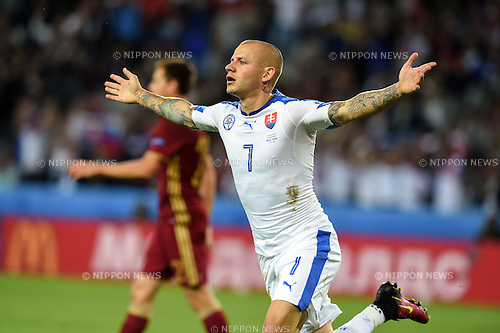 Vladimir Weiss (Slovakia) ; <br /> June 15, 2016 - Football : Uefa Euro France 2016, Group B, Russia 1-2 Slovakia at Stade Pierre Mauroy, Lille Metropole, France.; Joy Goal 0-1 ;(Photo by aicfoto/AFLO)