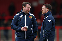 Stevenage manager Darren Sarll speaks to Nicky Shorey during Stevenage vs Crewe Alexandra, Sky Bet EFL League 2 Football at the Lamex Stadium on 10th March 2018