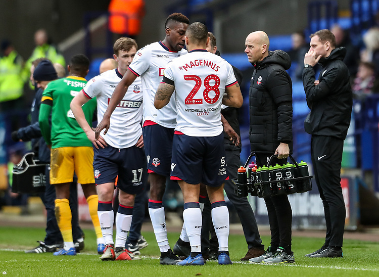 Bolton Wanderers' players taking an iPro drinks break  <br /> <br /> Photographer Andrew Kearns/CameraSport<br /> <br /> The EFL Sky Bet Championship - Bolton Wanderers v Preston North End - Saturday 9th February 2019 - University of Bolton Stadium - Bolton<br /> <br /> World Copyright &copy; 2019 CameraSport. All rights reserved. 43 Linden Ave. Countesthorpe. Leicester. England. LE8 5PG - Tel: +44 (0) 116 277 4147 - admin@camerasport.com - www.camerasport.com