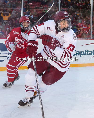 Patrick Harper (BU - 21), Ivan Chukarov (UMass - 13) - The Boston University Terriers defeated the University of Massachusetts Minutemen 5-3 on Sunday, January 8, 2017, at Fenway Park in Boston, Massachusetts.The Boston University Terriers defeated the University of Massachusetts Minutemen 5-3 on Sunday, January 8, 2017, at Fenway Park.